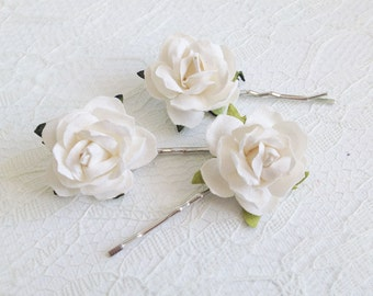 Ivory Rose Clips Wedding Hair Accessories Bridal Pins