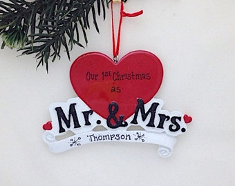 FREE SHIPPING Mr. and Mrs. Personalized Christmas Ornament / Wedding Ornament / Personalized Ornament / First Christmas / Anniversary