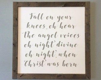 IN STOCK Ready to Ship Wooden Christmas Sign, O Holy Night Sign, Christmas Decor, Framed Sign, Farmhouse Style Signs