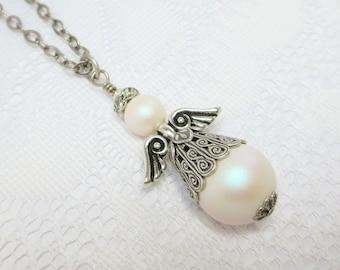 Angel Necklace Pendant Swarovski Pearls Jewelry Anniversary Gift