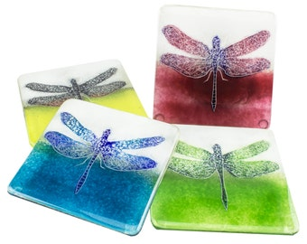 Dragonfly Coaster - Fused Glass Handmade Gift