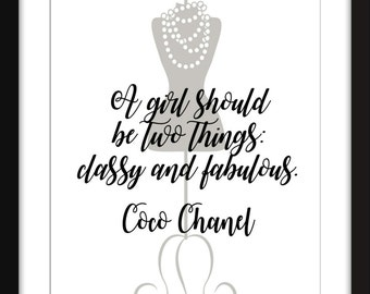 """Coco Chanel """"Classy and Fabulous""""  Print 11 x 14""""/8 x 10""""/5 x 7""""   A3/A4/A5, Typography Artwork, Gift Idea for Fashionistas"""