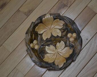 Vintage Ornate Hand Carved Wooden Bowl