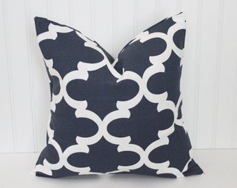 Fynn Quatrefoil Pillow Covers, Accent Pillow Cushions, Navy Blue, Orange, Yellow, Coral, Grey, Teal, Pink, ALL SIZES