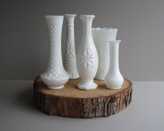 A Vintage Collection of 5 Milk Glass Vases in Various Patterns