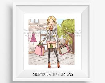 Fashion Art Print - I love Shopping- Long hair, Blonde