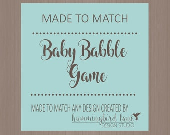 BABY BABBLE baby shower game - DIY Digital or Printed, Made to Match any design, Baby Shower Games, Word Scramble, Baby Shower printables