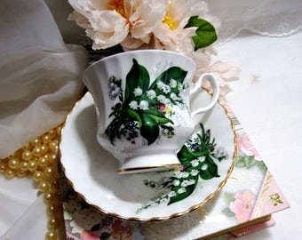 Vintage 1960s, Tea Cup and Saucer by Bluebird, Canada, Bone China, Lily-of-the-valley, White Bell Shaped Flowers