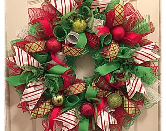 JULYSALE10-Red, White and Lime Deco Mesh Wreath/Christmas Wreath/Lime, White and Red Wreath/Holiday Lime and Red Wreath