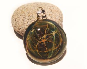 Glass Pendant - Rainforest Pendant - Glass Art - Glass Universe - Blown Glass Jewelry - Glass Necklace - Boro Pendant - Universe Filament