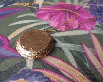 "vintage locket necklace - large engraved circle pendant on 24"" chain"