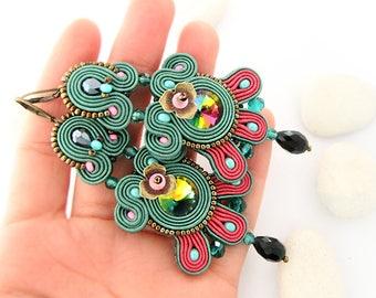 Emerald green chandelier earrings, bohemian colorful earrings, large dangle soutache earrings, green statement earrings