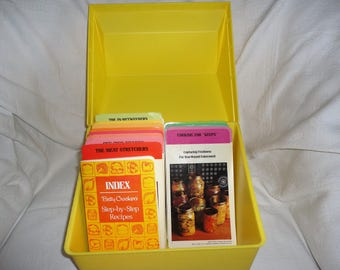 Vintage Betty Crocker's Step By Step Recipe Box Yellow Plastic Recipe Card Library General Mills Card File
