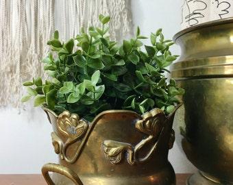 floral brass bowl