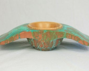 Maple and Copper Winged Bowl with Green Patina