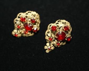 Vintage Czech Czechoslovakia Earrings. Goth. Victorian. Clip on.