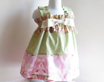 Baby 18mo Summer Dress, Baby Dress, Pink And Green Pastels, Floral, Baby Girl Summer Clothes.
