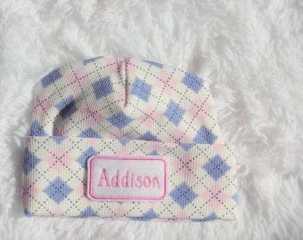 Newborn Girl Hospital Hat. Personalized Newborn Hat. Baby Girl Hospital Hat.