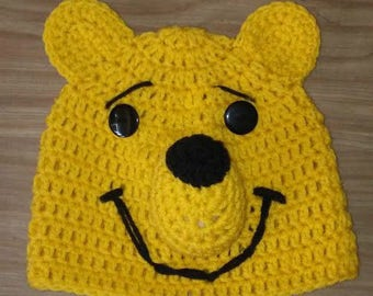 Winnie the Pooh, Crochet Beanie, Pooh Bear, Character Beanie, Photo Prop, Photography Prop, Handmade Hat, Animal Hat, Bear Hat, Winter Hat