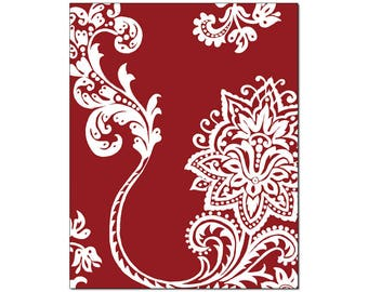 French Country Stylized Floral Wall Art, White Motif Crimson Background, 11x14 Matted Print, Crimson#1, Matching Prints Available