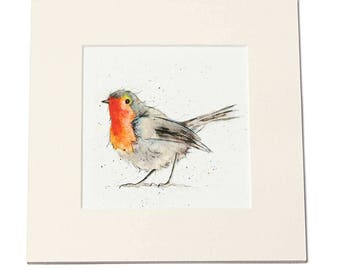 Robin Print - Garden Bird Print, Woodland, Bird Gift, Mounted Print, Watercolour