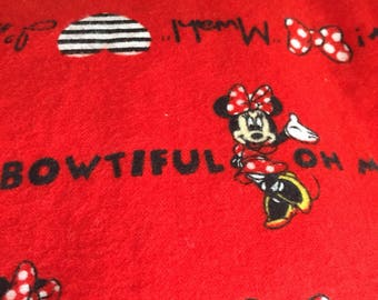 A red , black Minnie Mouse print fitted crib /toddler sheet, and regular pillowcase