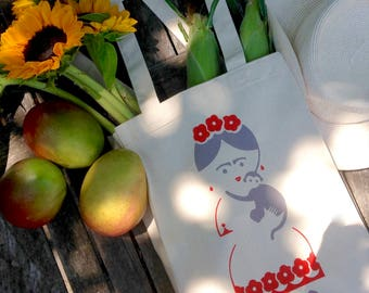 Frida Kahlo Canvas Tote Bag, Reusable Market Bag, 100% Cotton.