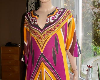 Vintage caftan top by La Perla.Aquasuit caftan by La Perla.Colourful embellished caftan.