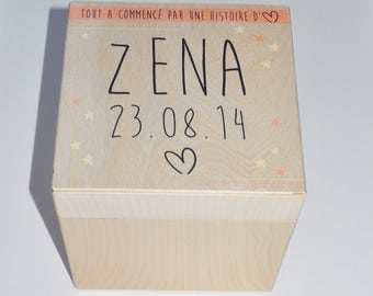 Wooden keepsake box - personalized with name and date of birth