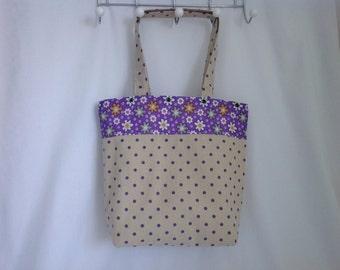 Fabric Tote Bag, Linen, Polka Dot, Beach Bag, Shopper, Hand Bag