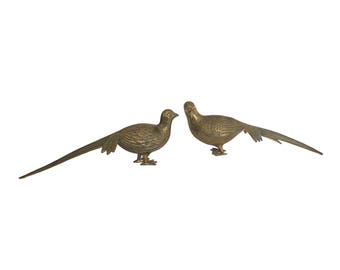 Vintage Large Gold Brass Pheasant Bird Figurine Set of 2