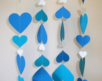 Hand made Thick Card Stock Paper Party Wedding Christmas Decoration Streamer Blue and White Hearts