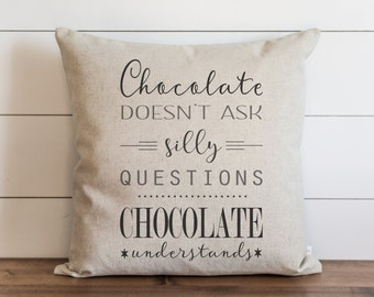 Chocolate 20 x 20 Pillow Cover // Everyday // Throw Pillow // Gift // Accent Pillow // Cushion Cover