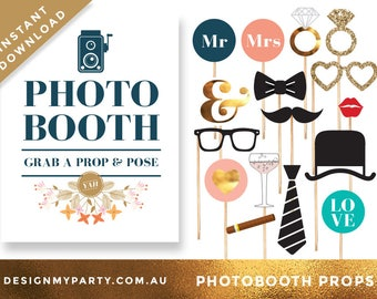 Printable Wedding Bridal Photo Booth Props - Bride Photobooth Props - Wedding Props