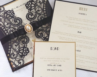 Luxury Laser cut Art Deco Wedding Invitations with RSVP and insert