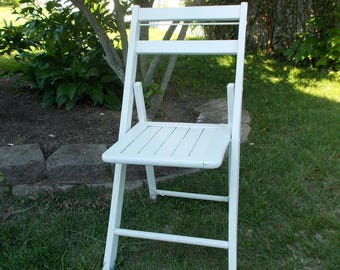 Solid Wood Vintage White Folding Chair at Ancient of Daze