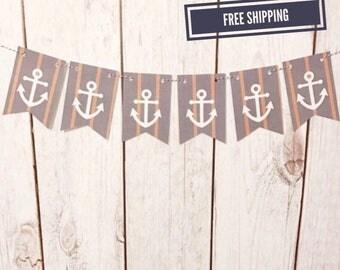 Anchor Banner, Lake House Sign, Nautical Banner, Nautical Nursery, Nautical Baby Shower, Nautical Birthday, Nautical Decor, Ahoy It's a Boy