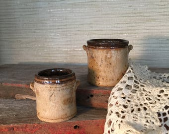 SALE-Handcrafted Miniature stoneware clay pottery crock set