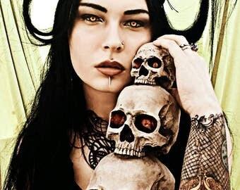 Gothic Headpiece/ Dark Faun Fantasy Headpiece/ Head fascinator/ Tribal/ Shaman Headpiece/