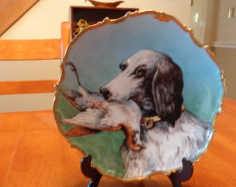 Limoges Hand Painted Bird Dog Plate / Hand Painted Limoges Gold Gild Plate
