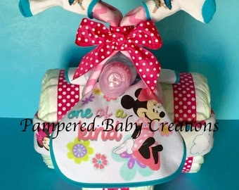 Minnie Mouse Tricycle - Diaper Tricycle - Minnie Mouse Diaper Cake