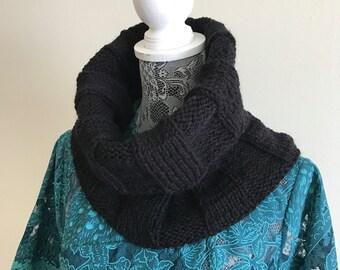 Black Neck Warmer - Hand Knit Cowl - Women Neck Warmer - Soft Cowl - Knitted Neck Warmer - Men Cowl - Father's Day Gift