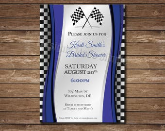 Racing Inspired Bridal Shower Invitation - Printable