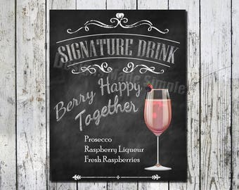 Berry Happy Together Signature Drink Wedding Sign - Printables - Instant Download