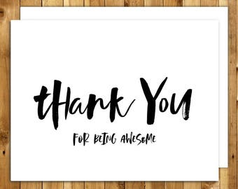 Thank You Cards Set. Thank You Cards Wedding. Thank You Cards Graduation. Appreciation Card. Bridal Shower. Thank You For Being Awesome
