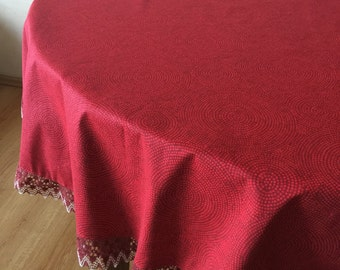 Round Cotton Tablecloth Linen Lace Red White