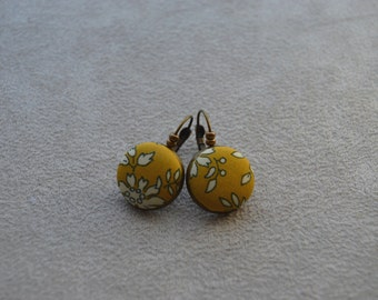 """Earrings collection """"textiles"""" your yellow mustard and white cloth Liberty buttons"""