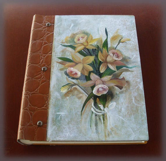 Vintage Illustrated LILIES - Custom Wedding GUEST BOOK - Totally Handmade and Handpainted