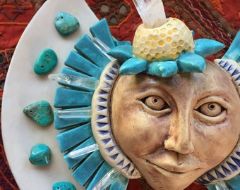Flying Turquoise Crystal Flower Ceramic Mask Wallhanging
