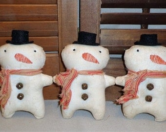 Primitive Itty Bitty Snowman Ornies*Bowl Fillers*Cupboard Tucks*